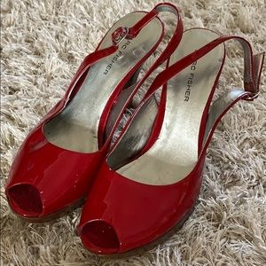 MARC FISHER Red Patent Leather SlingBack Size 6.5M